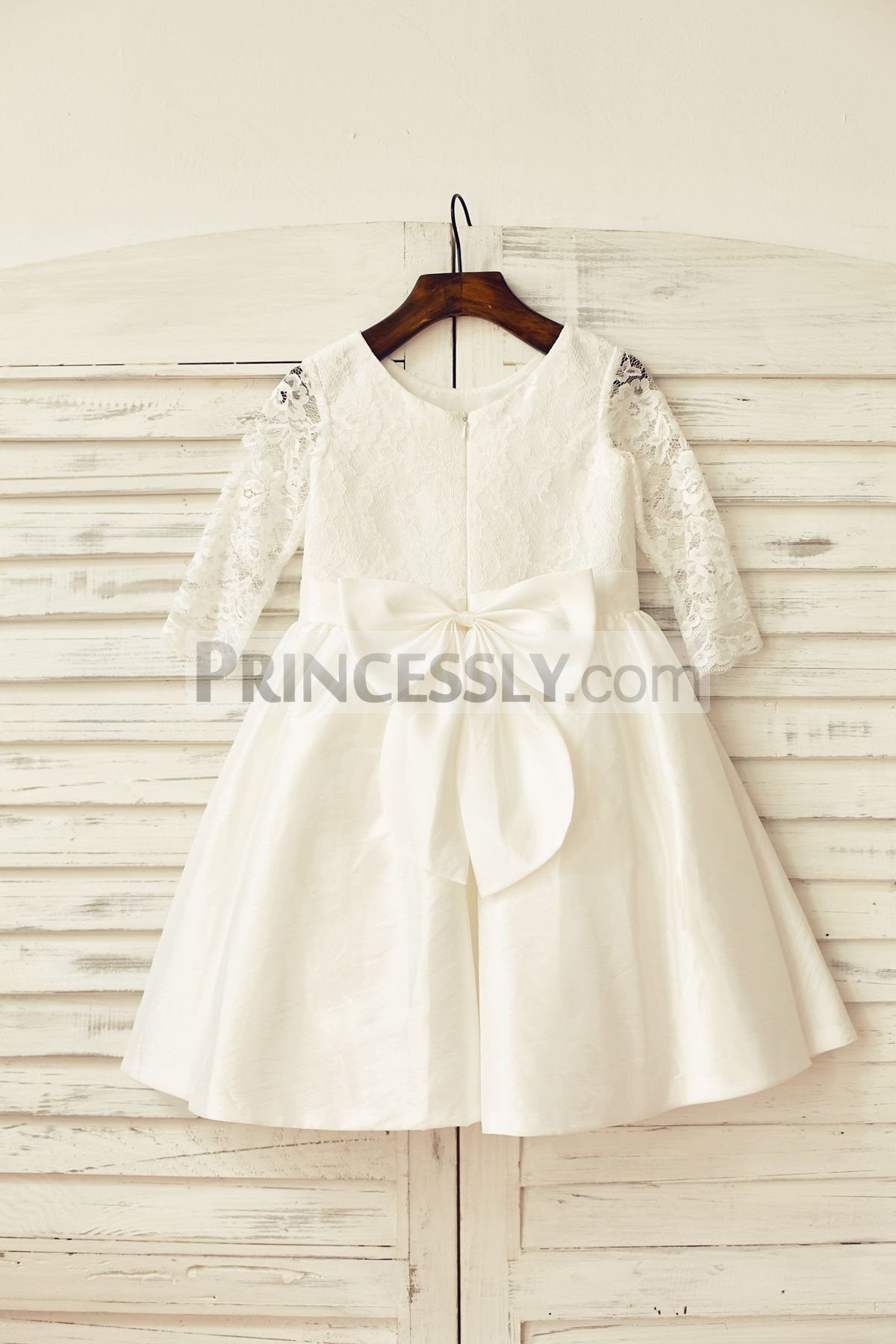 Long sleeves lace taffeta wedding baby girl dress