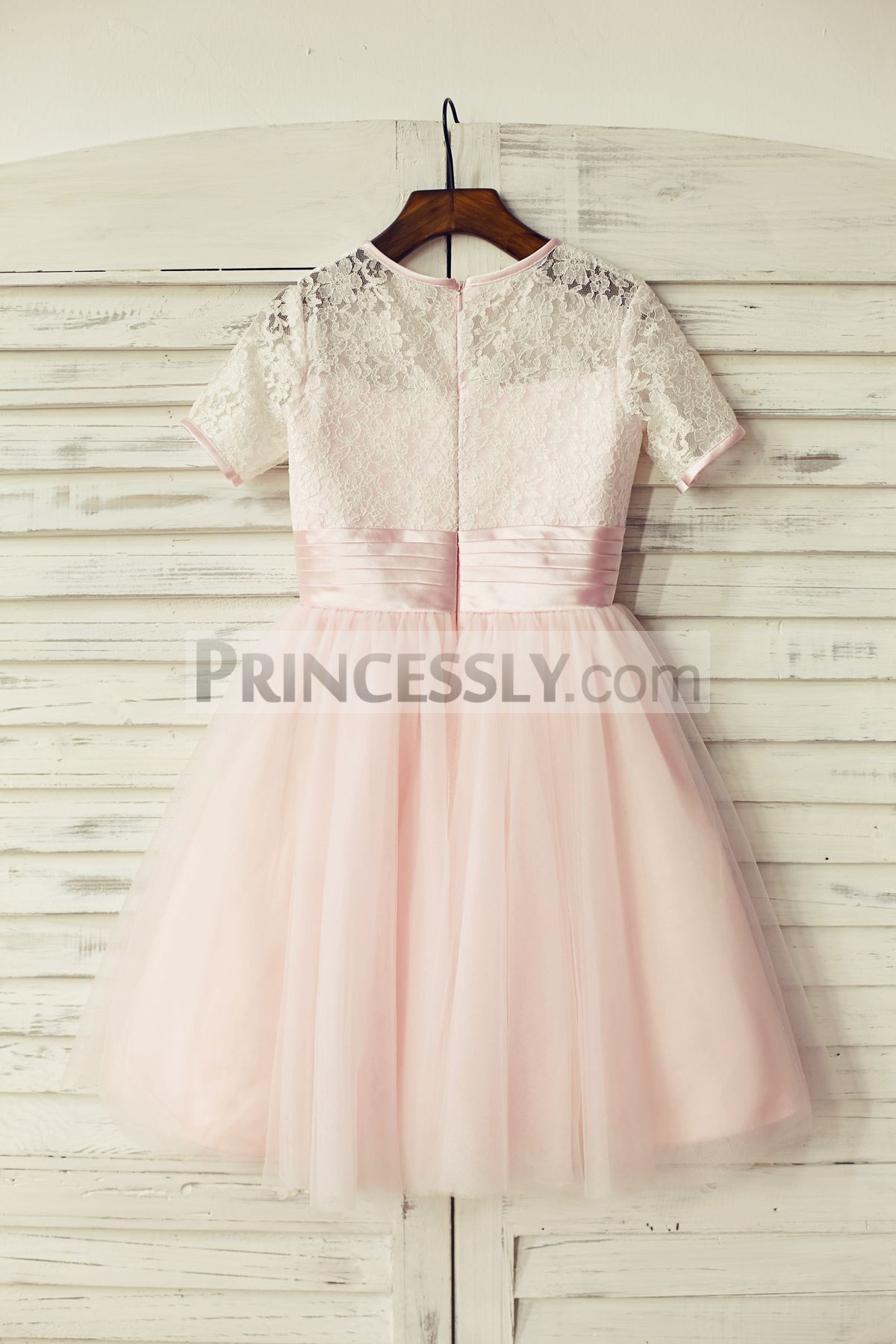 Lace tulle pink wedding baby girl dress