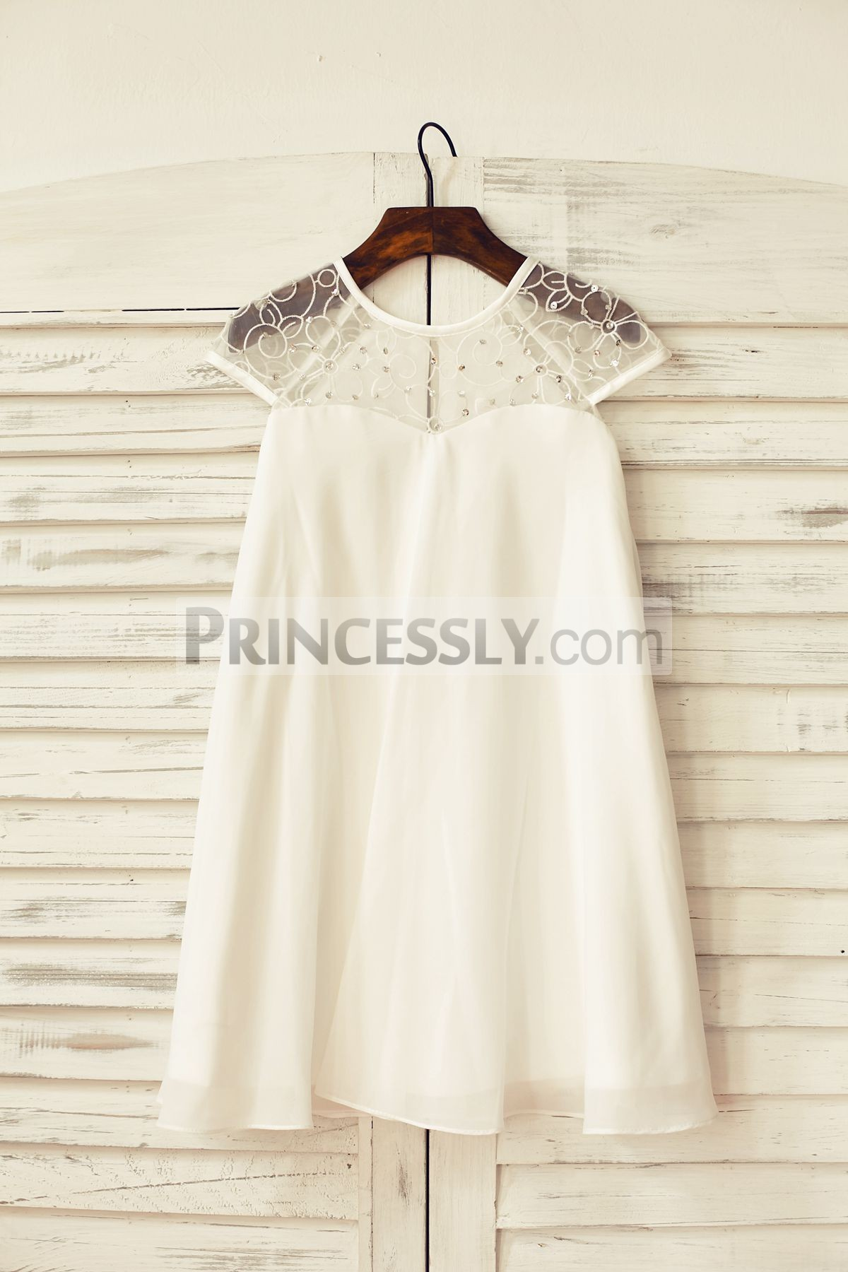 Sequined lace tulle chiffon ivory flower girl dress