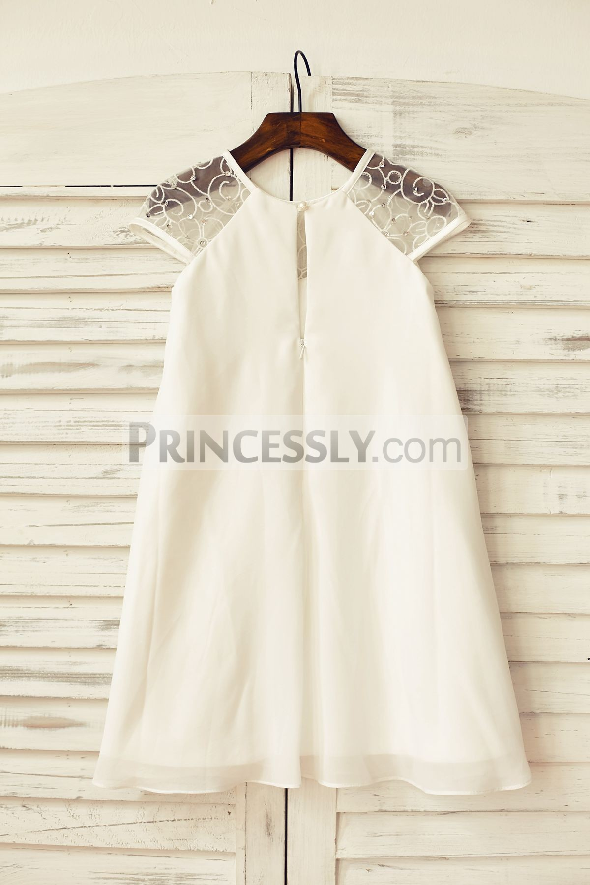 Slit on zipper back ivory chiffon wedding baby girl dress
