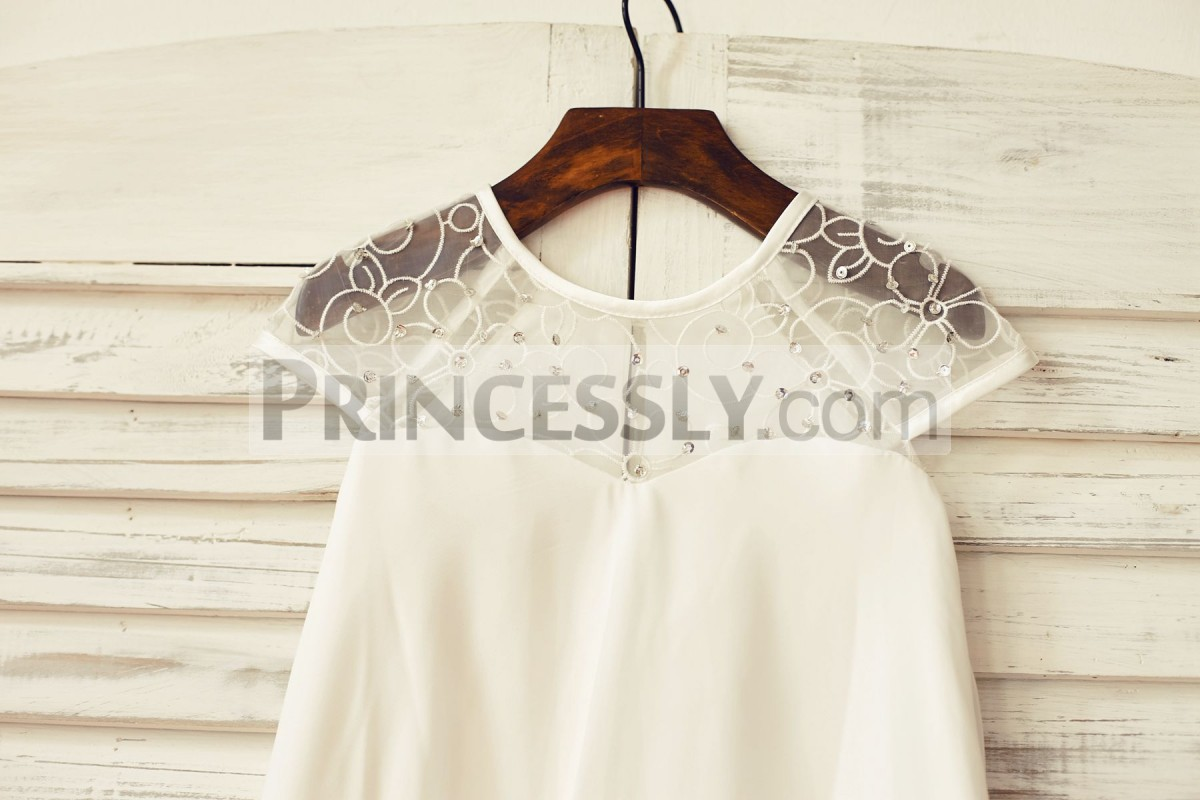 Sequined lace tulle neck and cap sleeves top