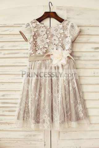 Princessly.com-K1000173-Brown-Satin-Ivory-Lace-Short-Sleeve-Flower-Girl-Dress-31