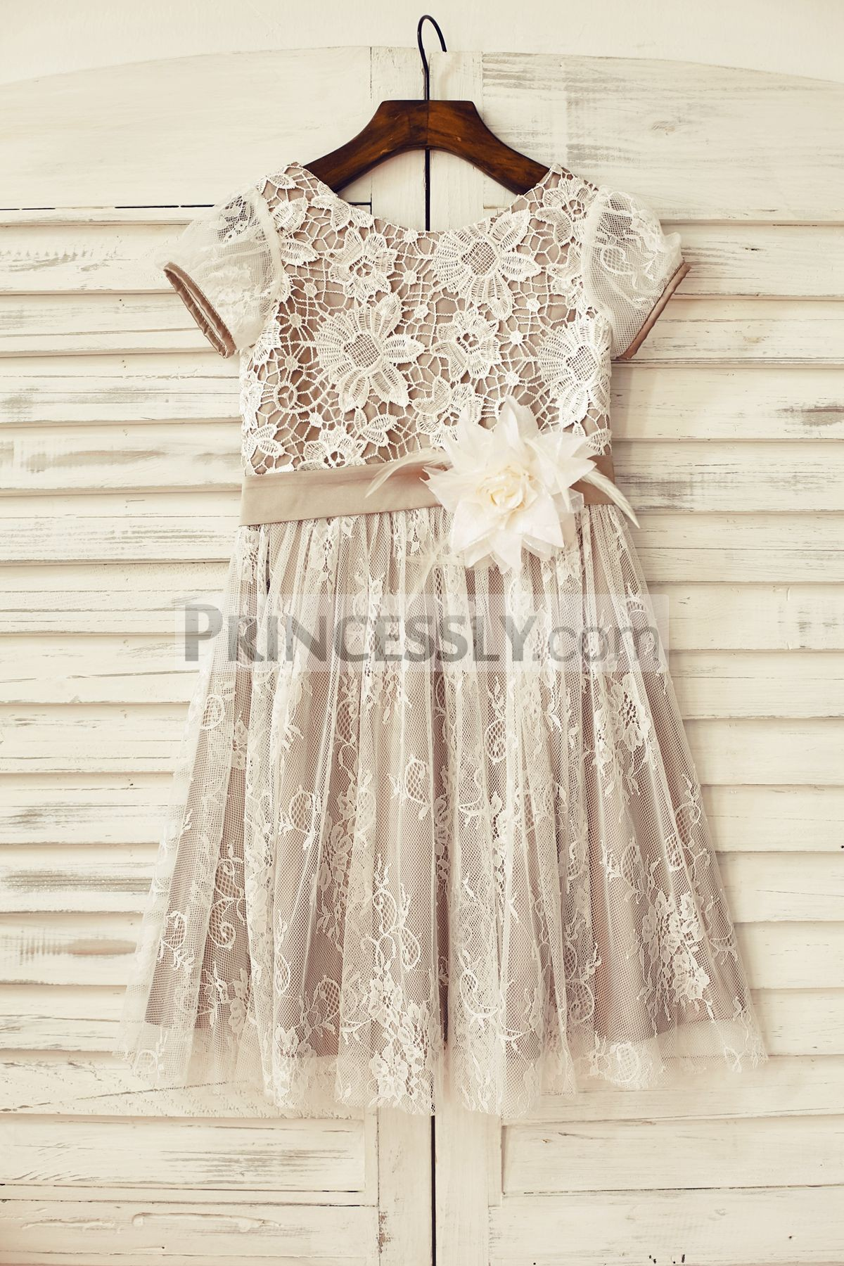 Ivory lace brown satin flower girl dress