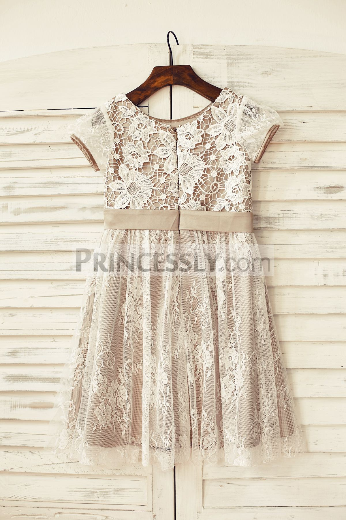 Ivory lace overlay brown satin wedding baby girl dress