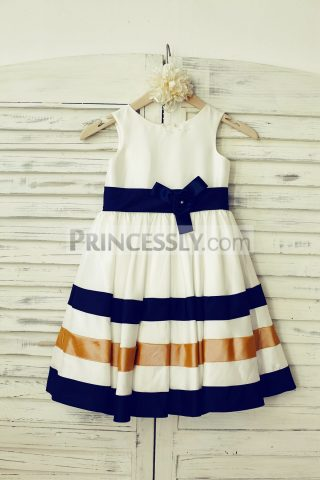 Princessly.com-K1000175-Ivory-Navy-Blue-Gold-Stripes-Taffeta-Flower-Girl-Dress-31