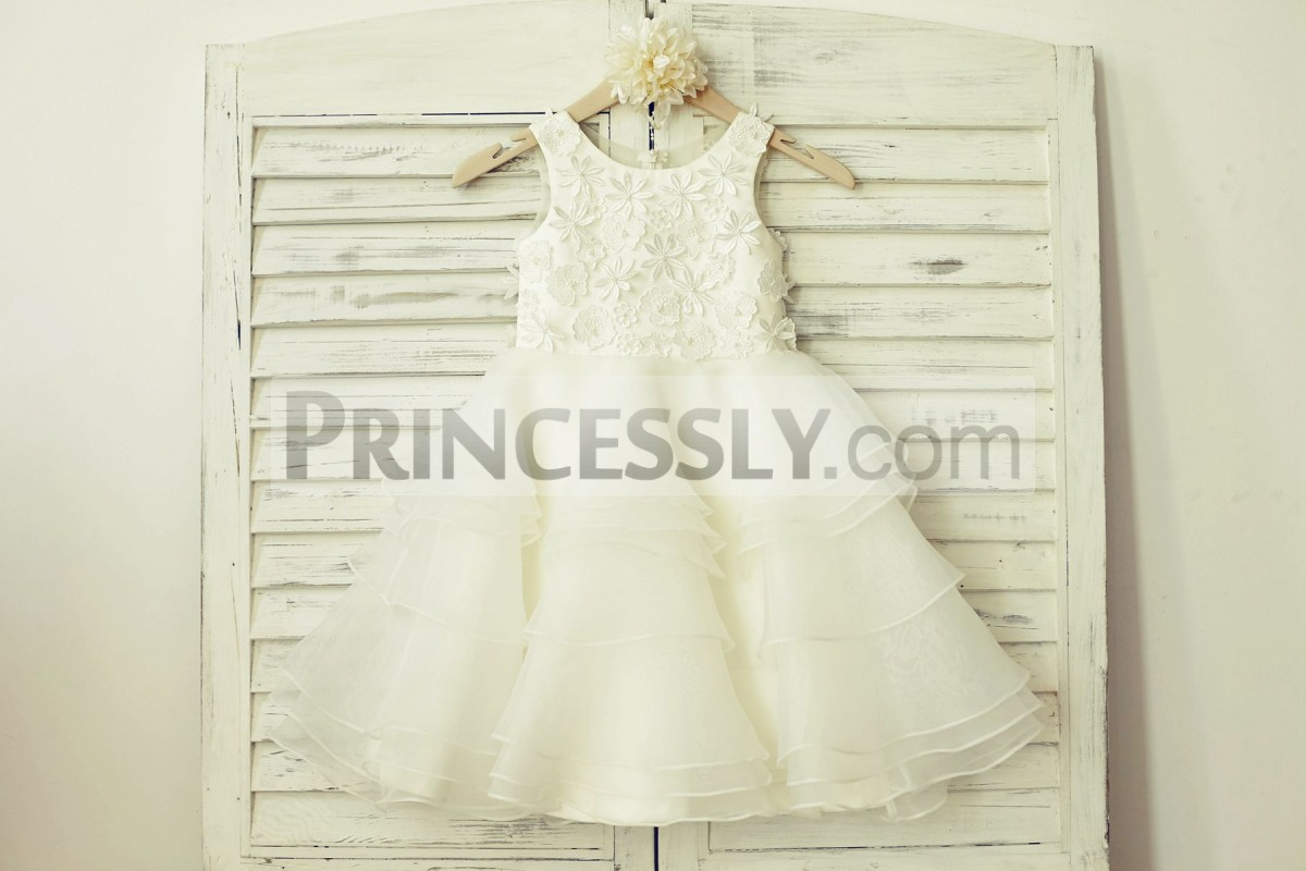 Ivory lace organza cupcake flower girl dress