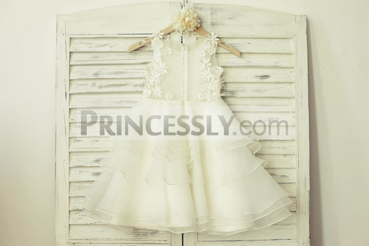 Hidden zipper see through back wedding baby girl dress