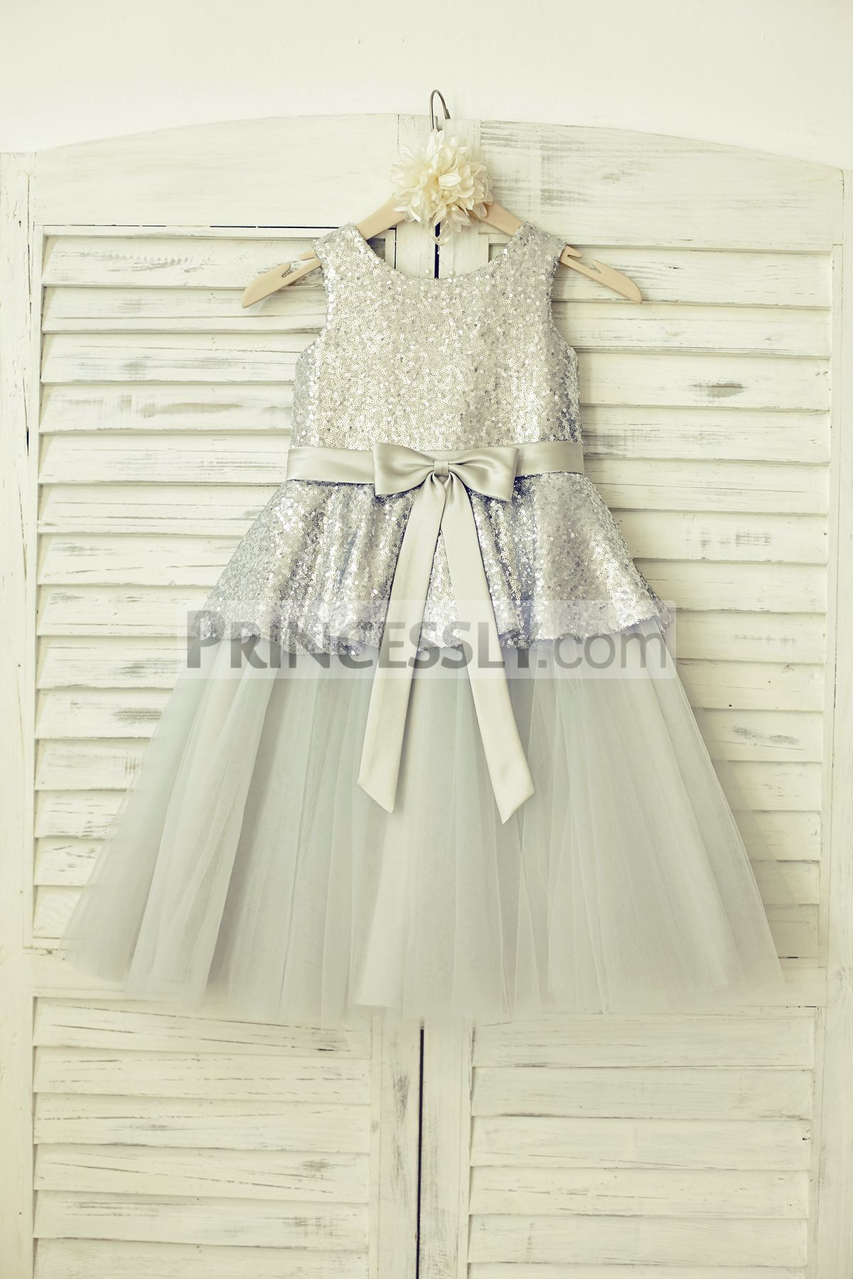 Silver sequins tulle overlay skirt flower girl dress