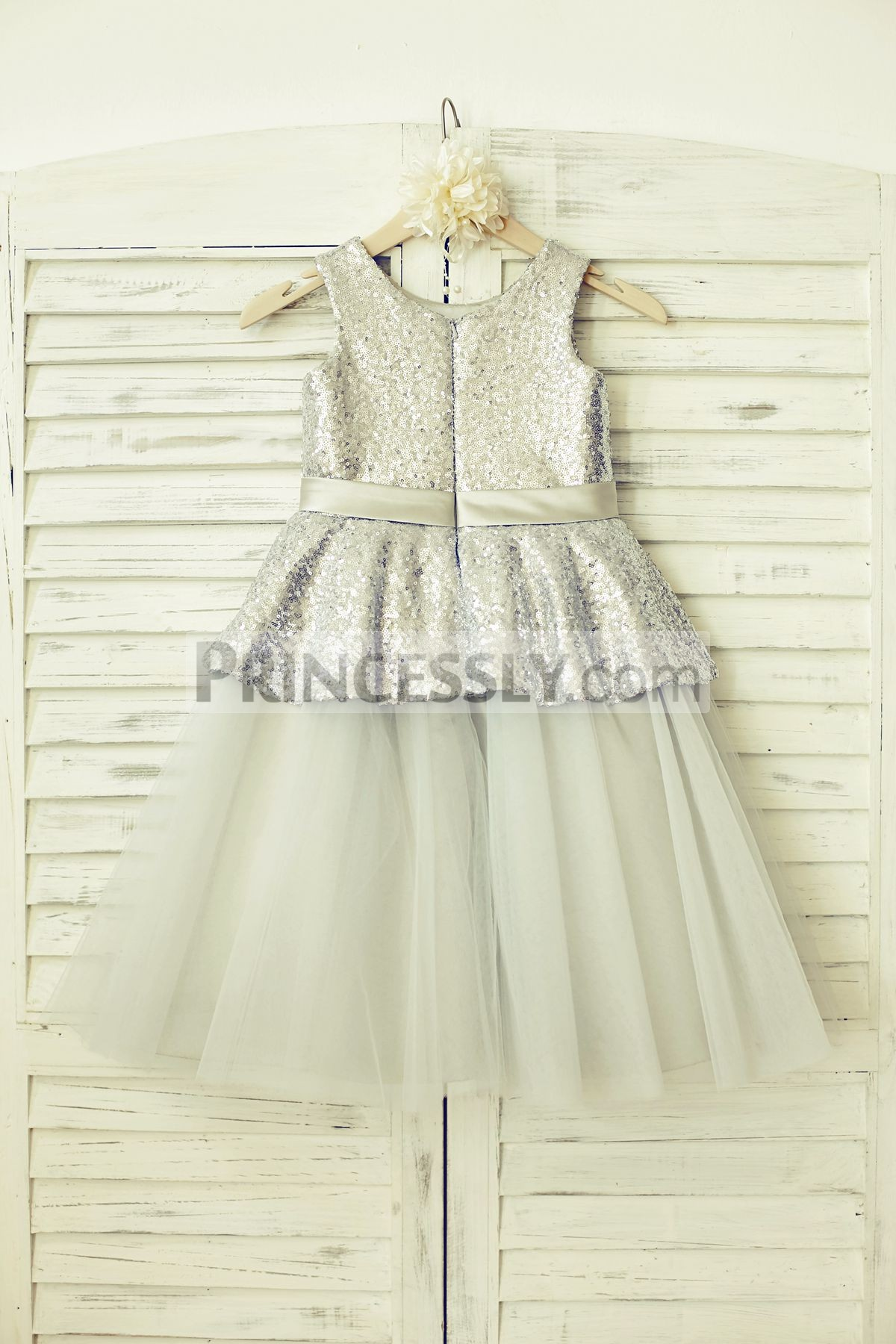 Sequins  tulle silver wedding baby girl dress