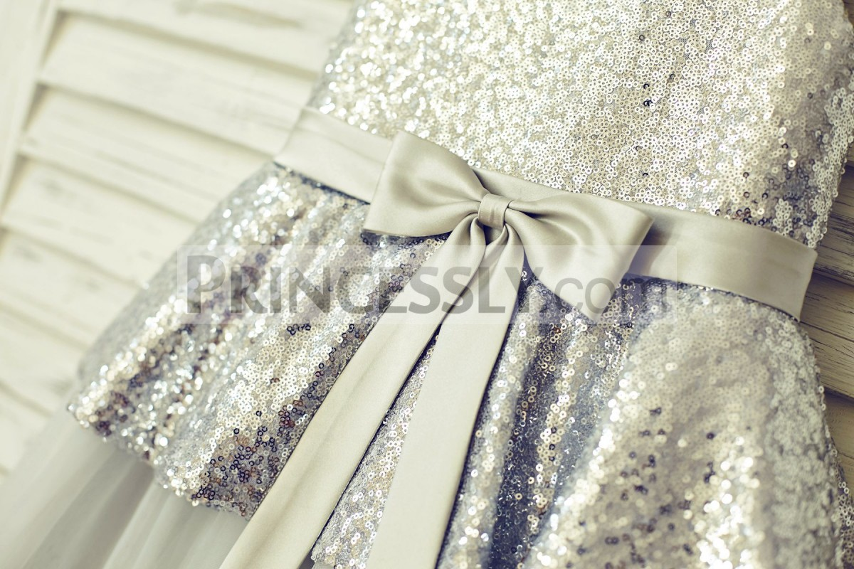 Silver satin sash with a cute bow on front
