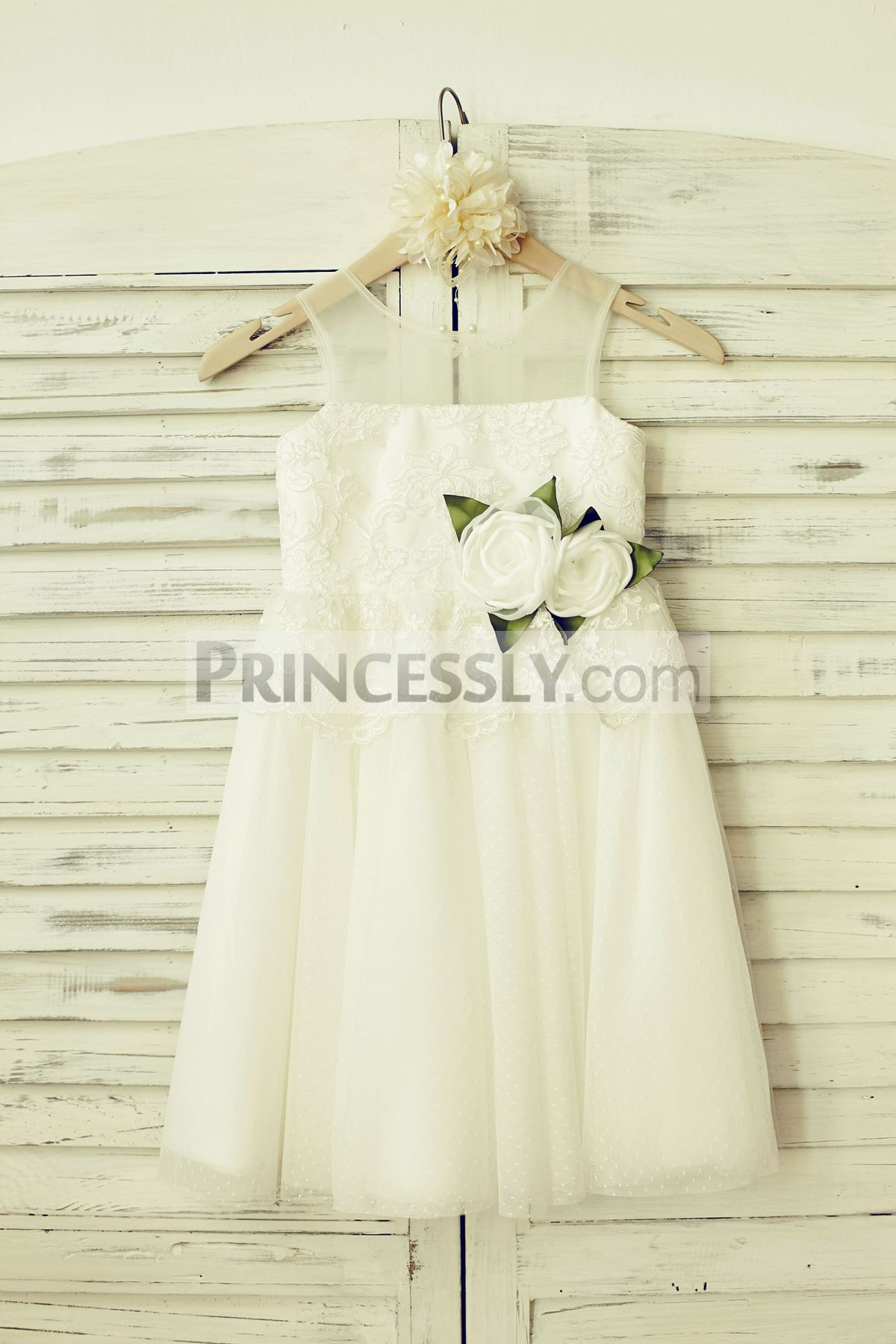 Sheer neck ivory french lace dot tulle flower girl dress