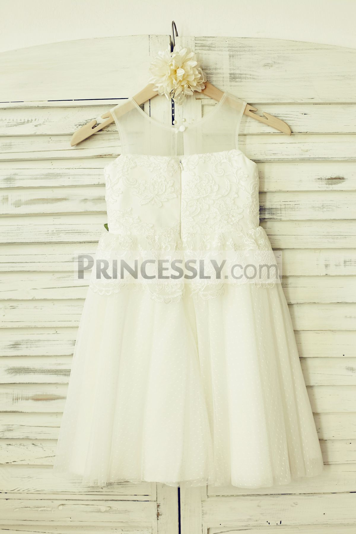 Slit on hidden zipper back lace tulle ivory wedding baby girl dress