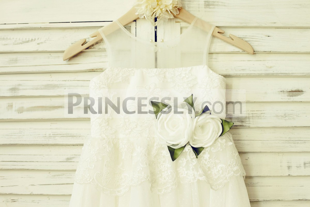 Sheer neck ivory lace bodice with handmade flowers