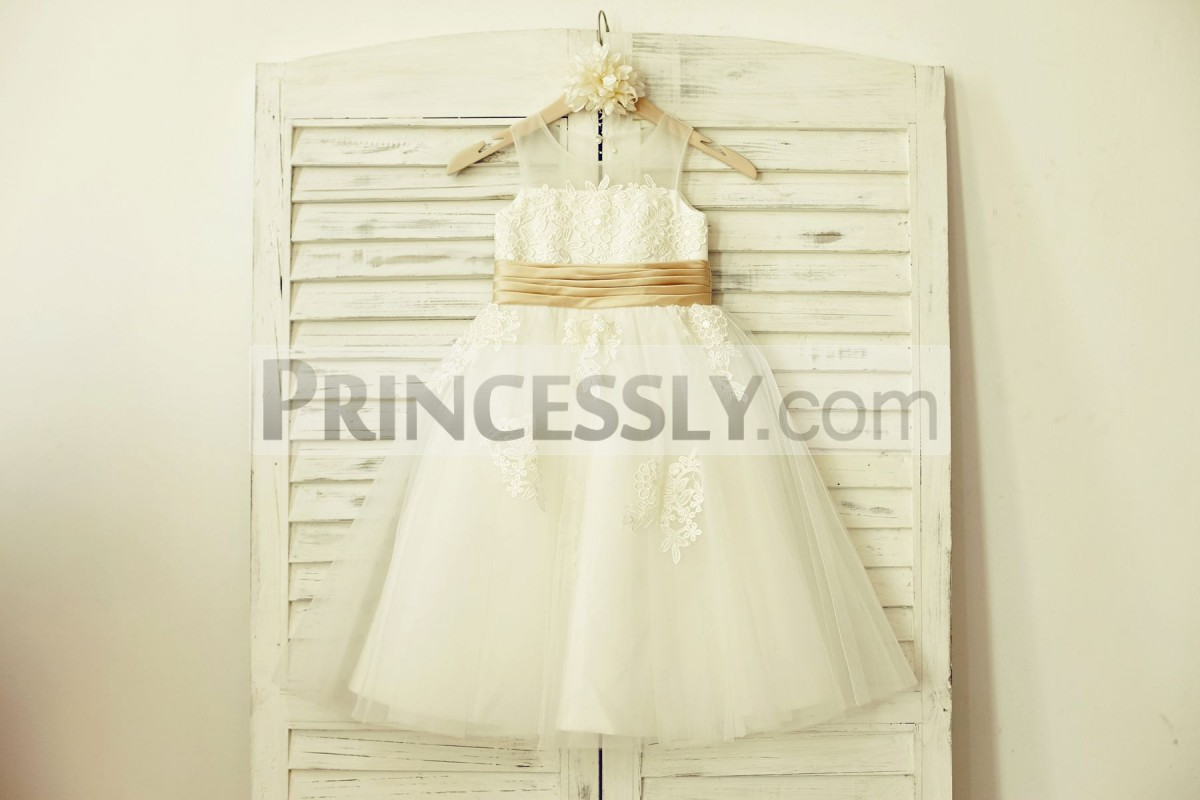 Sheer neck ivory tulle flower girl dress with ivory appliques