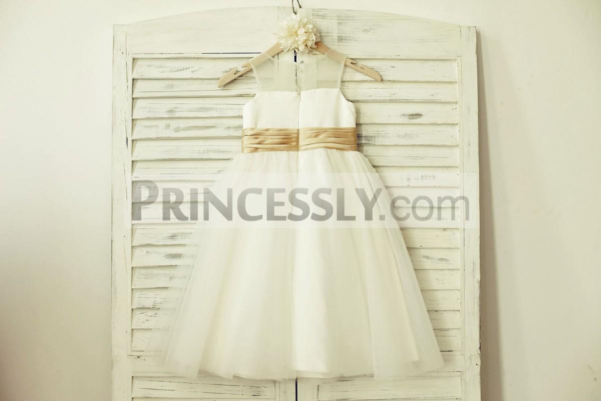 Slit on back ivory tulle wedding baby girl dress