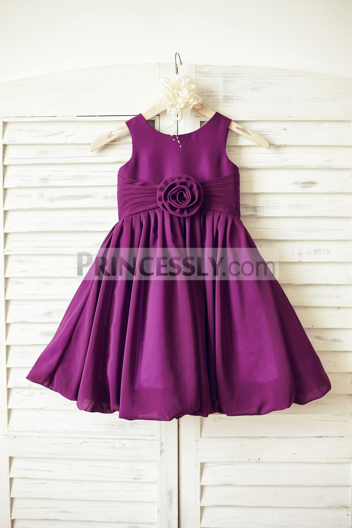 Purple plum chiffon flower girl dress