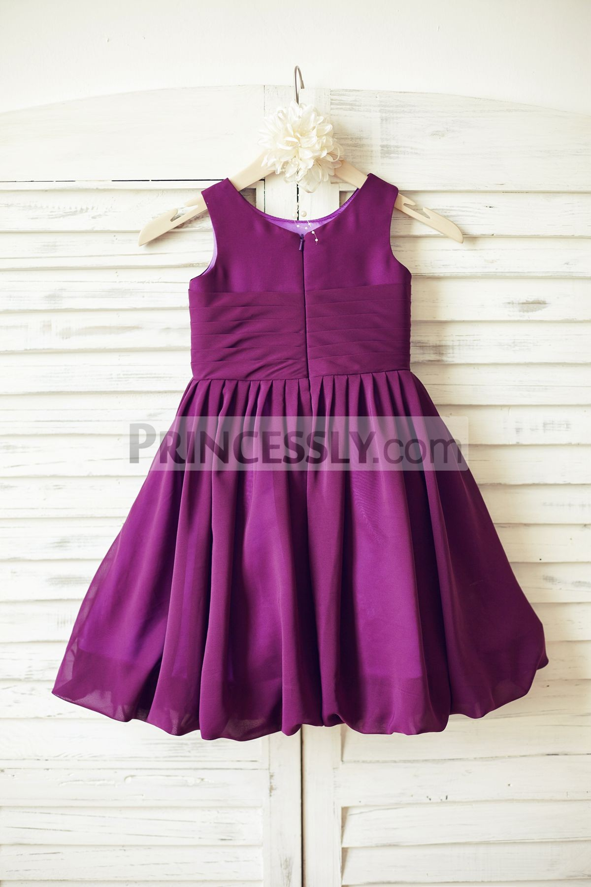 Hidden zipper back bubble skirt chiffon wedding little girl dress