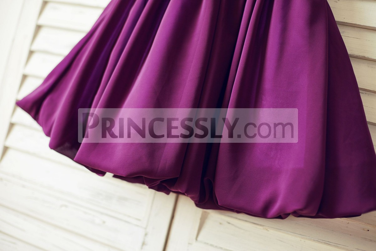 Bubble chiffon skirt in knee length