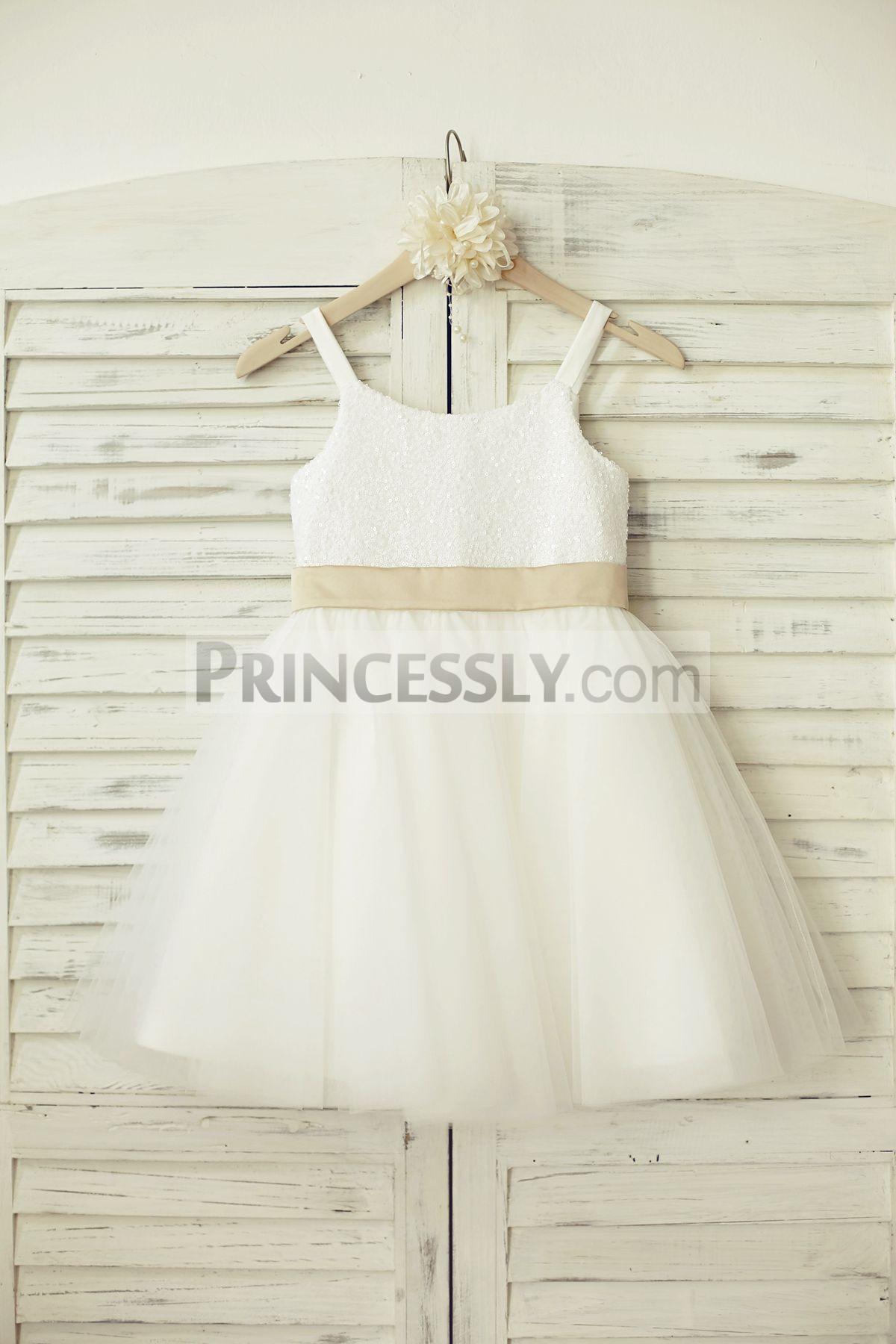 Sequined tulle white flower girl dress