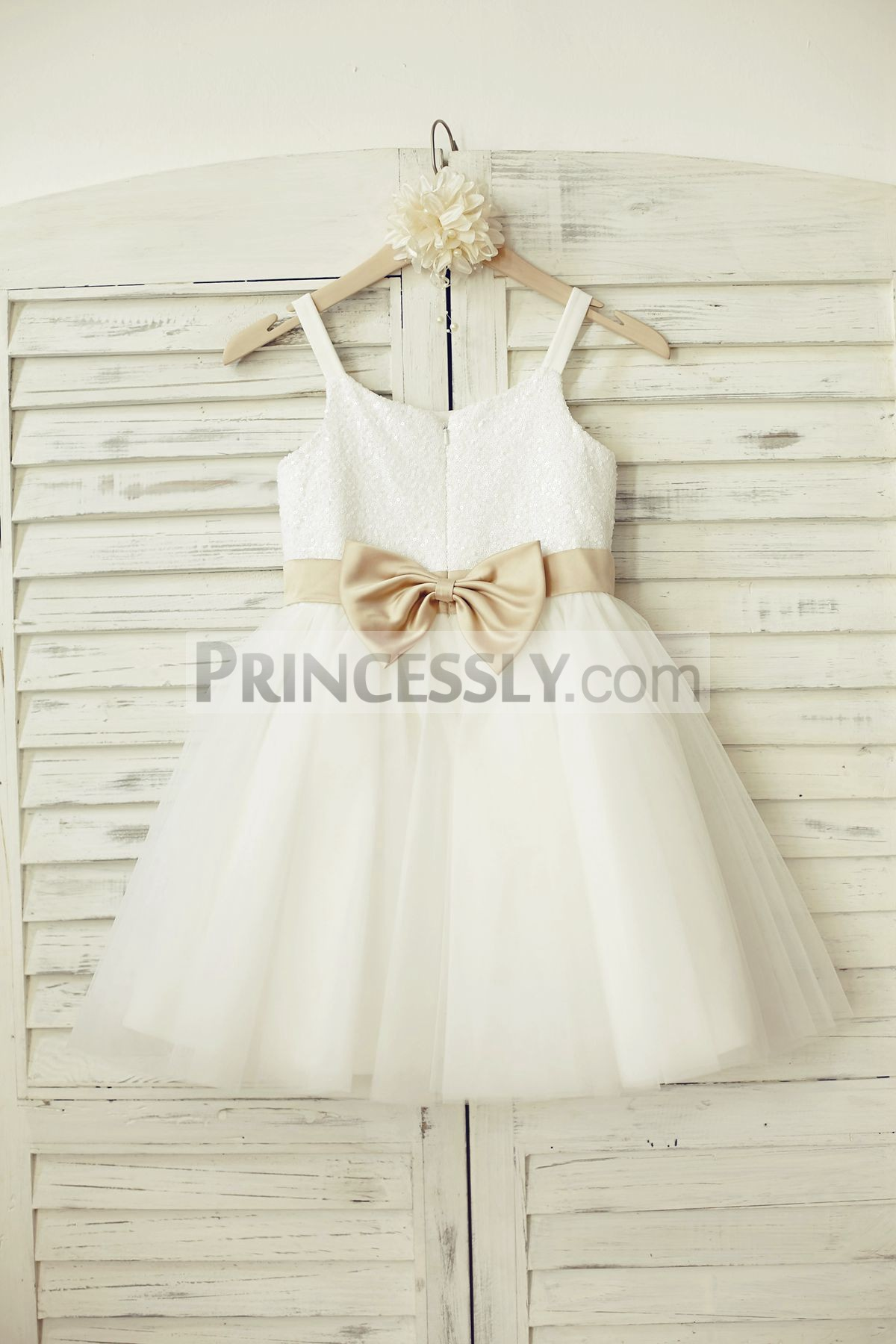 Thin satin straps white sequins tulle wedding baby girl dress