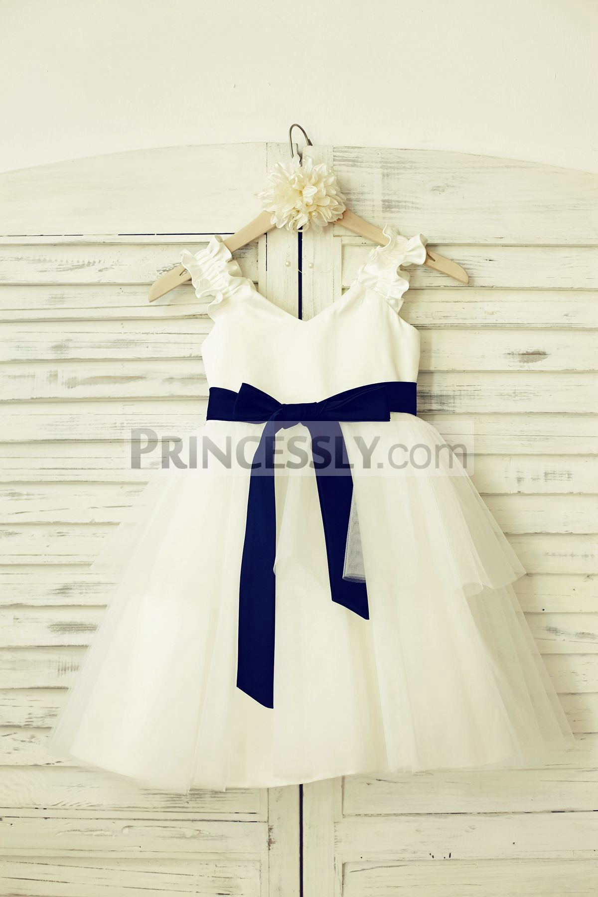 Ruffles straps V neck satin tulle ivory flower girl dress