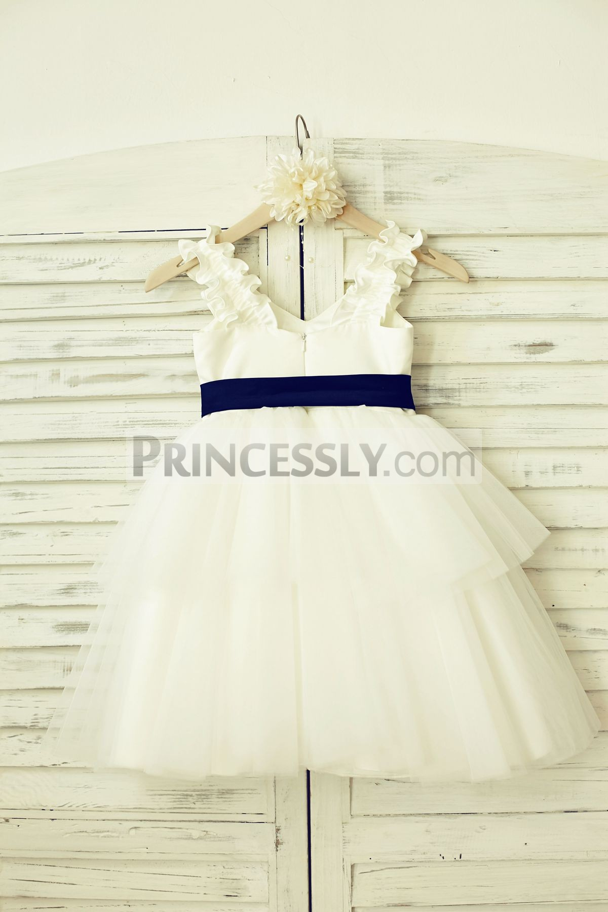 Satin tulle cupcake wedding baby girl dress