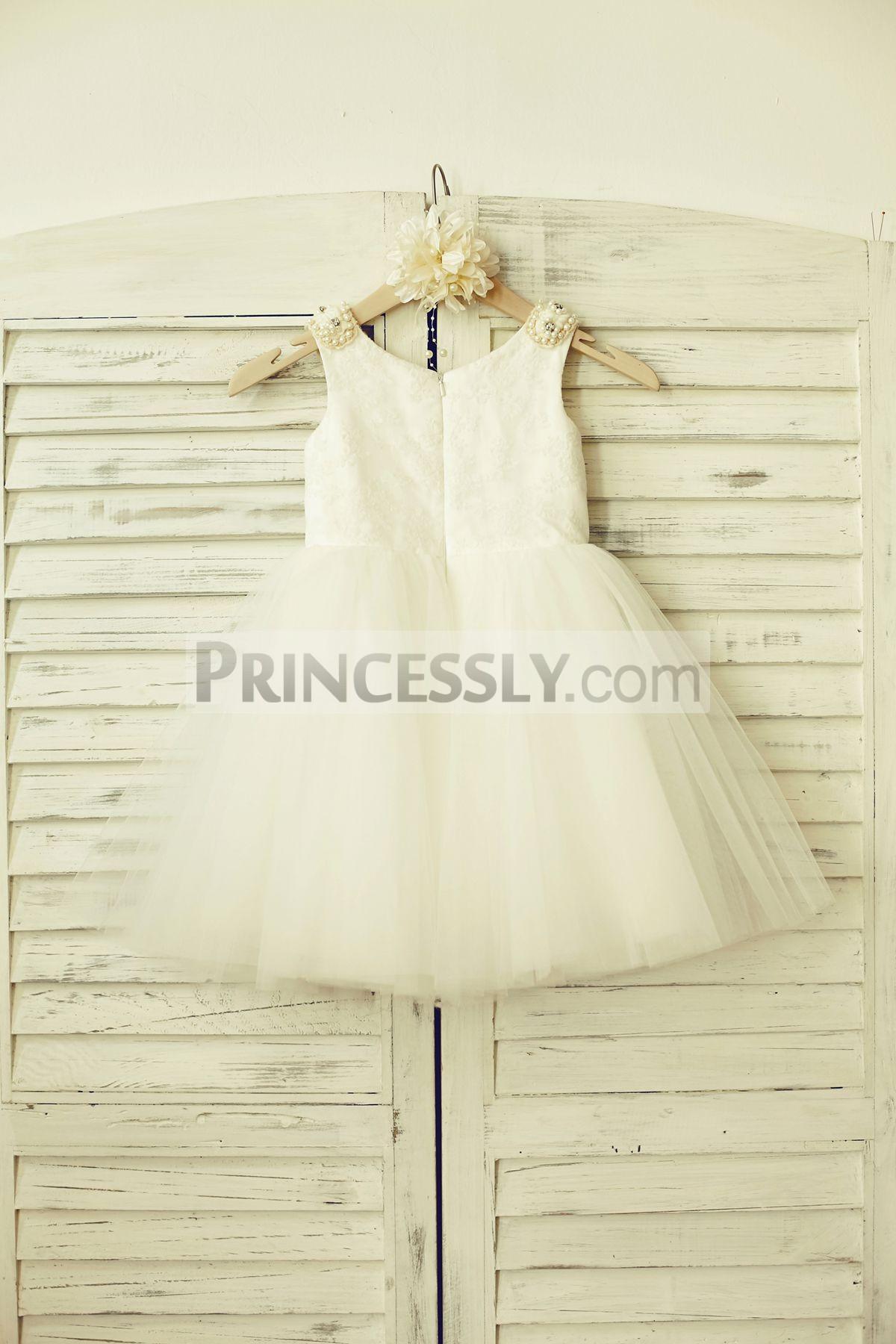 Hidden zipper closure ivory wedding baby girl dress