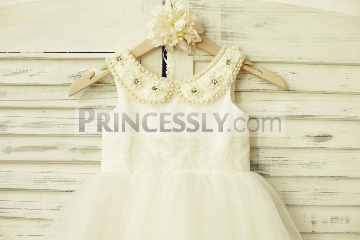 Beaded peter pan collar ivory lace bodice