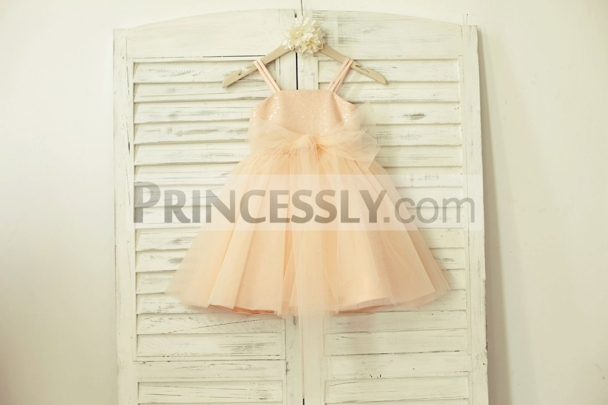 Blush pink sequins tulle flower girl dress