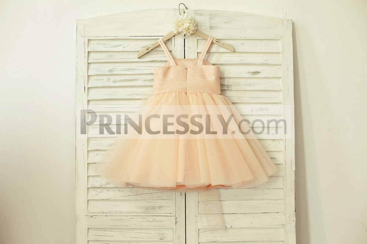 Spaghetti straps, hidden zipper back blush pink wedding baby girl dress