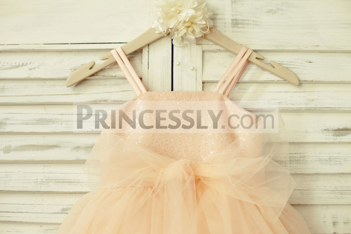 Blush pink sequins bodice with tulle sash