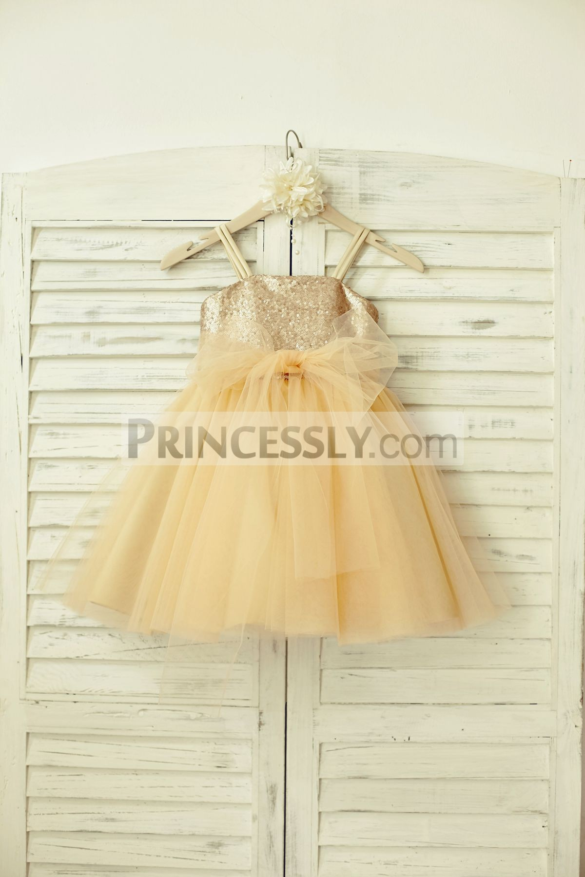 Champagne sequins tulle flower girl dress