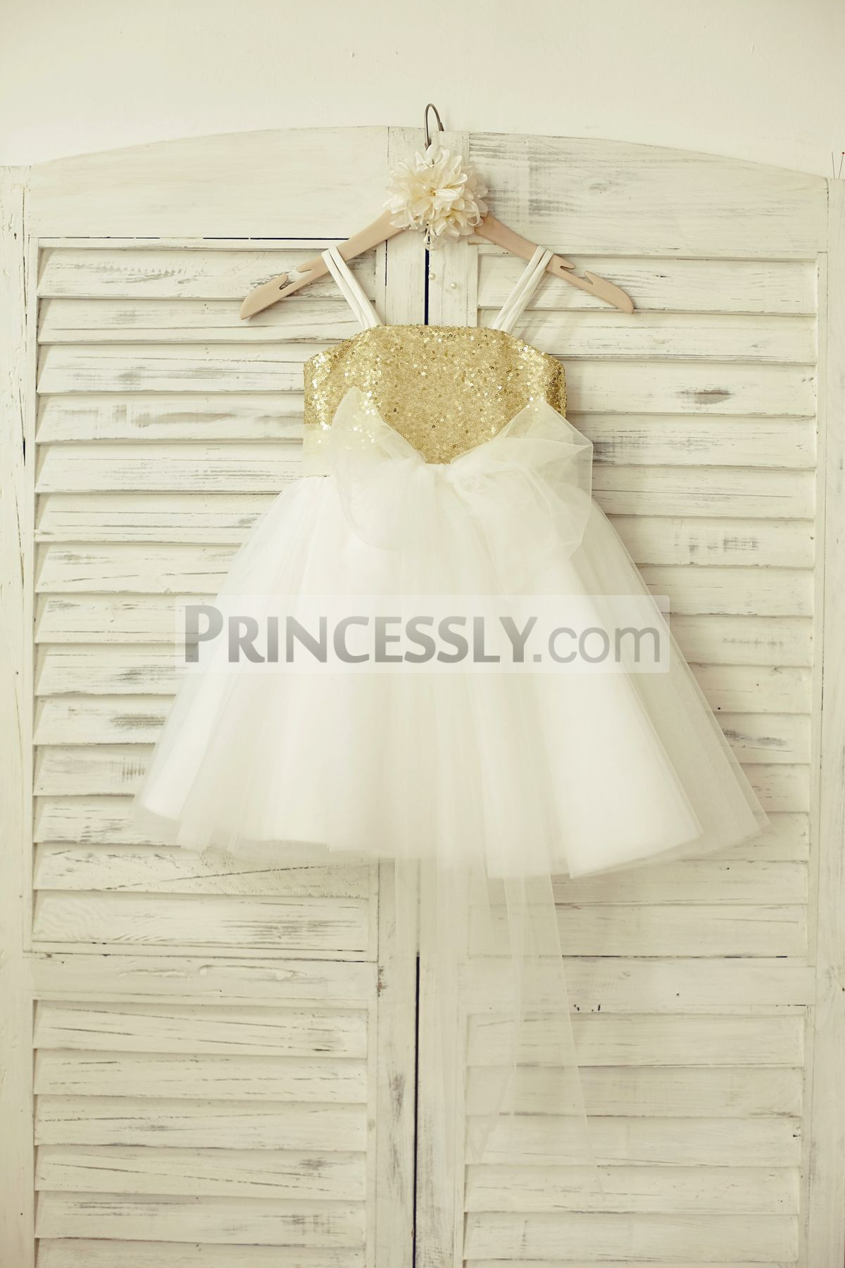 Gold sequins white tulle flower girl dress