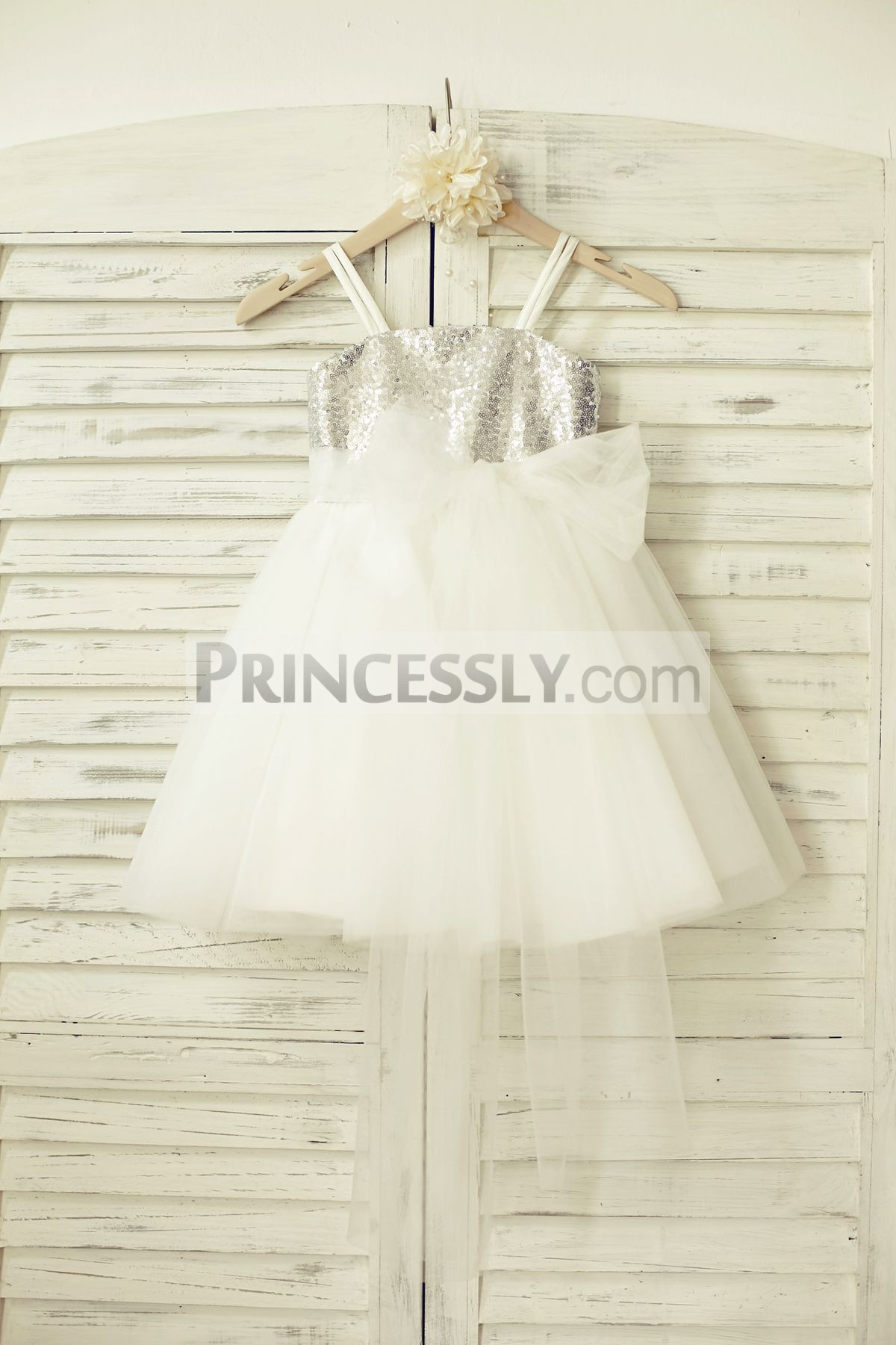 Sliver sequins ivory tulle flower girl dress