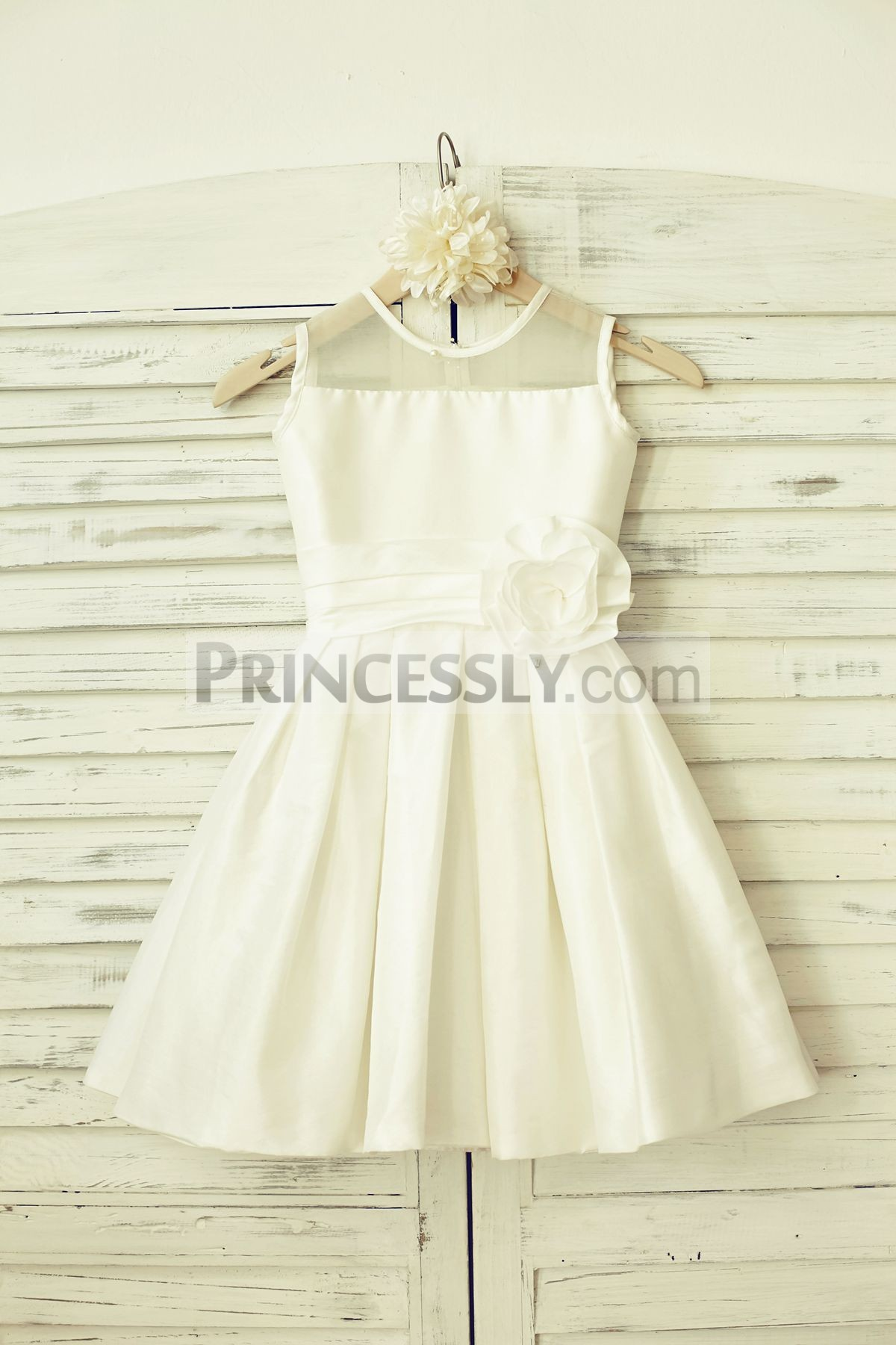 Sheer neck ivory taffeta flower girl dress