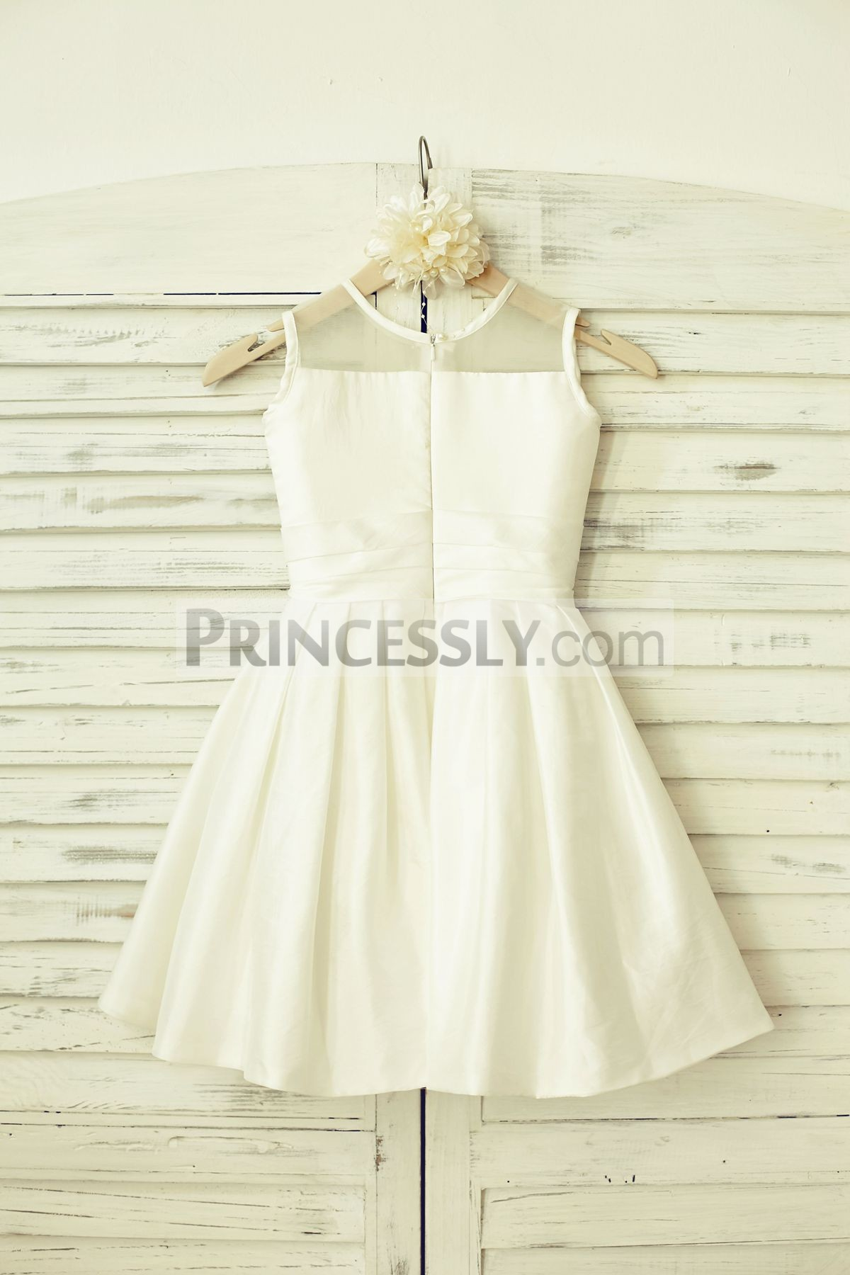 Ivory taffeta wedding baby girl dress