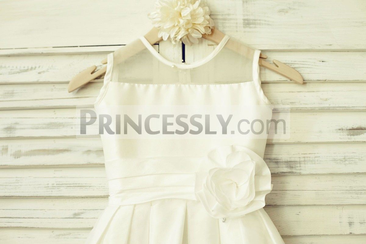 Sheer neck ivory taffeta bodice with pleated waistband
