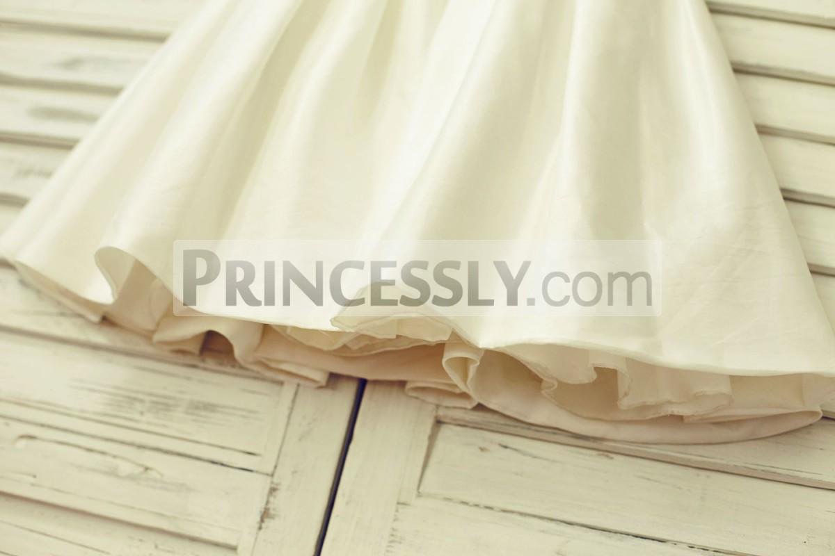 A-line ivory taffeta skirt