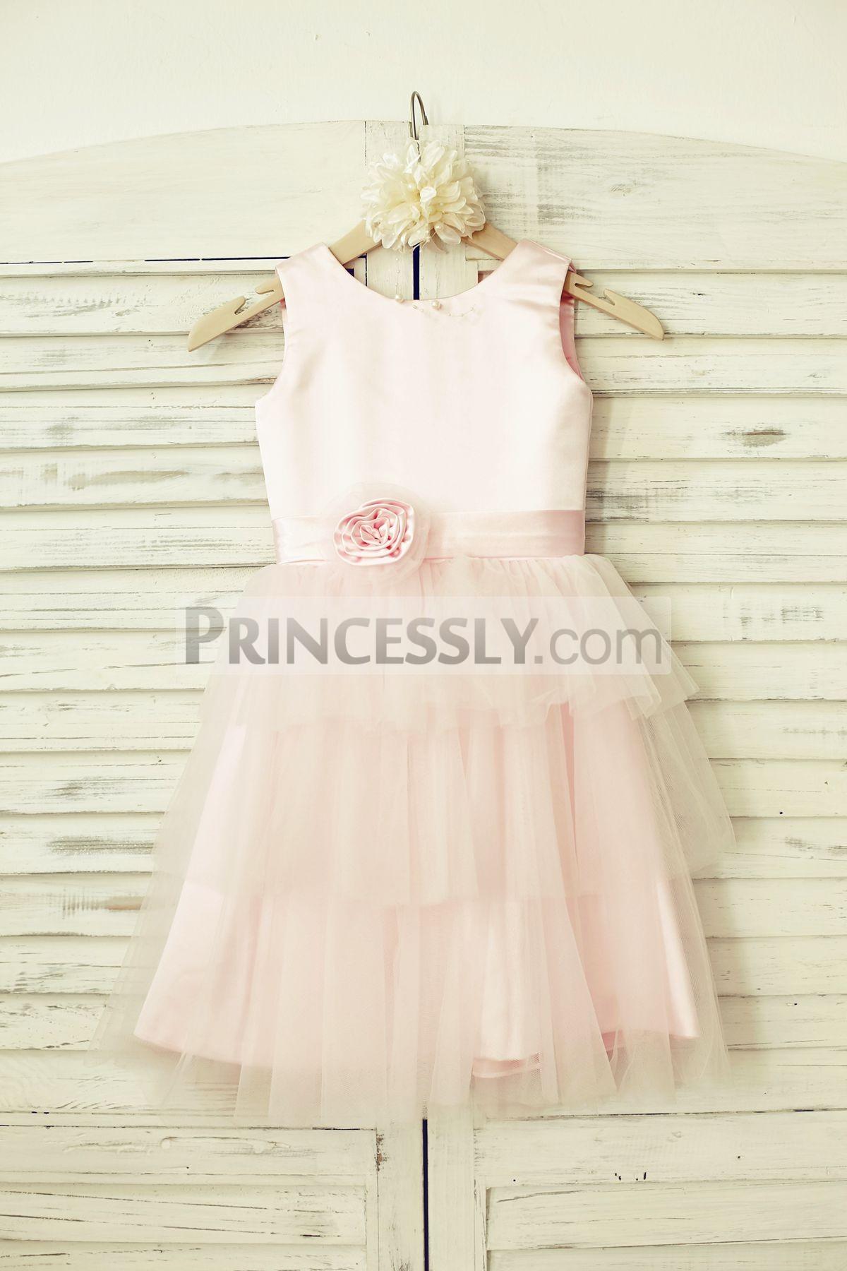 Pink satin cupcake tulle flower girl dress