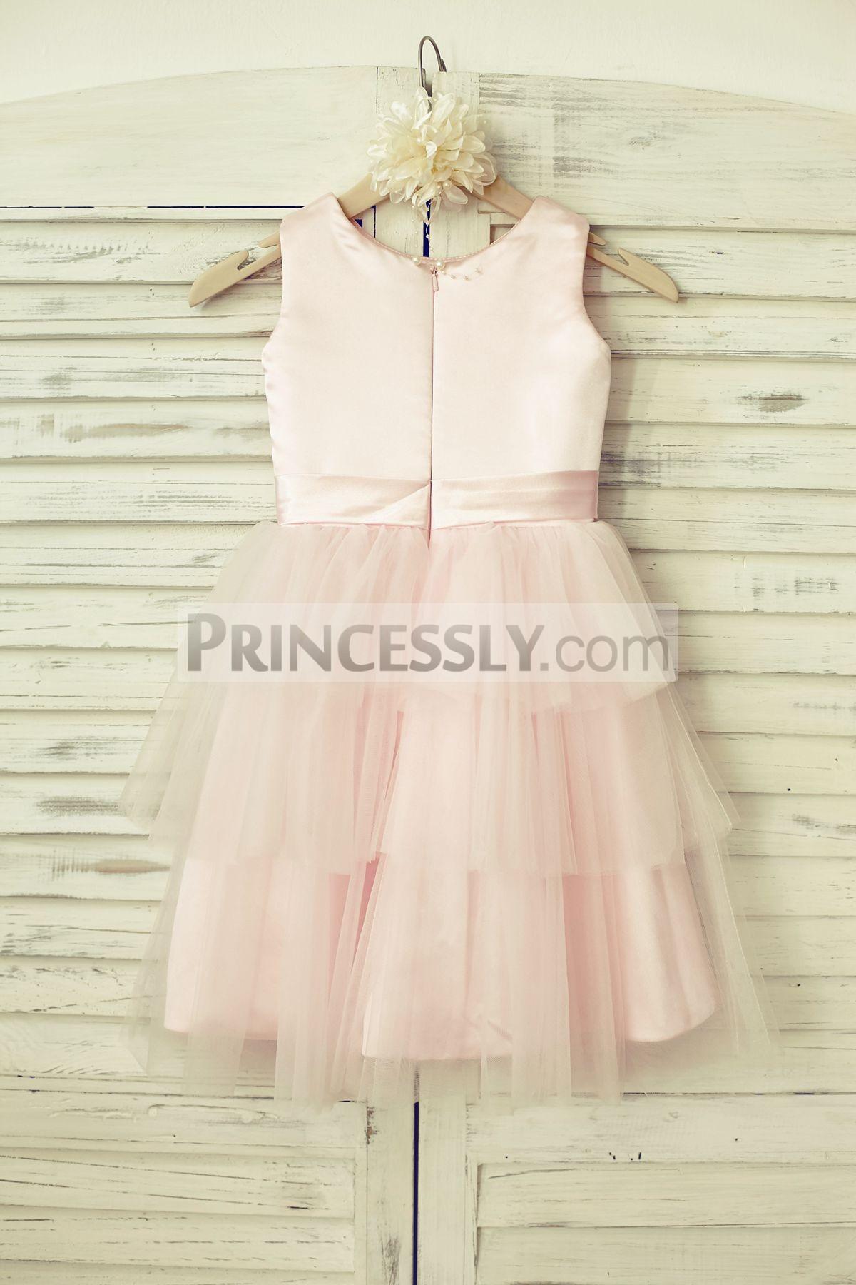 Satin tulle pink wedding little baby girl dress