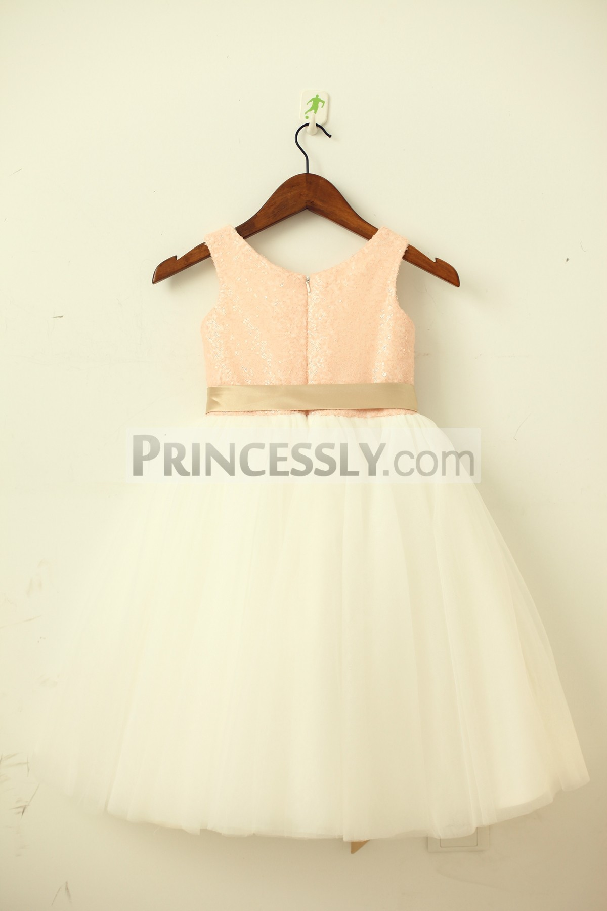 Blush pink sequins ivory tulle wedding baby girl dress