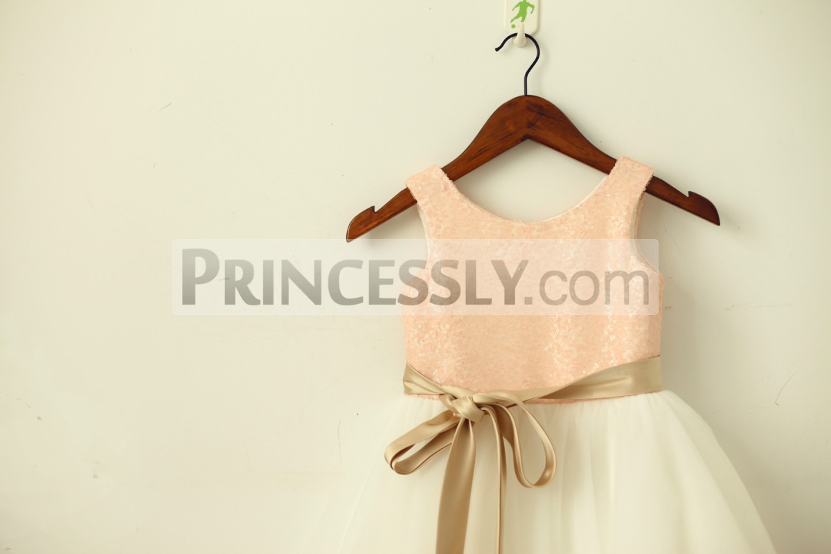 Blush pink sequins bodice in scoop neck & sleeveless