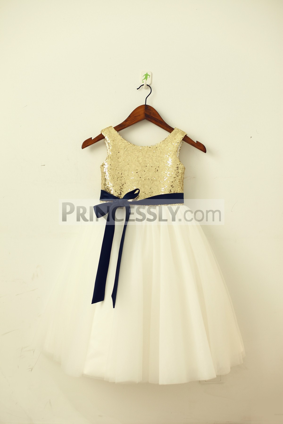 Gold sequins ivory tulle flower girl dress