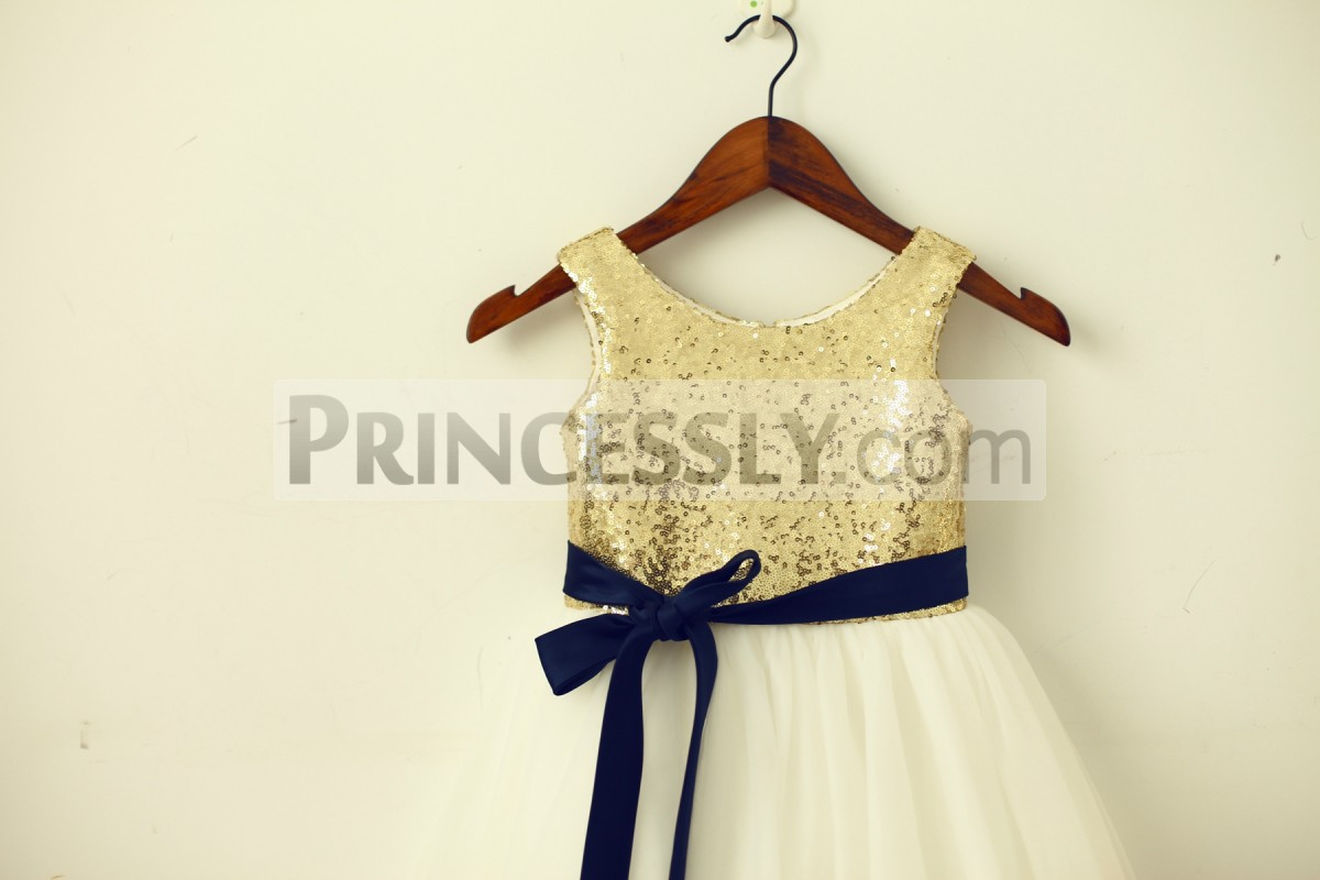 Gold sequins bodice with navy blue sash