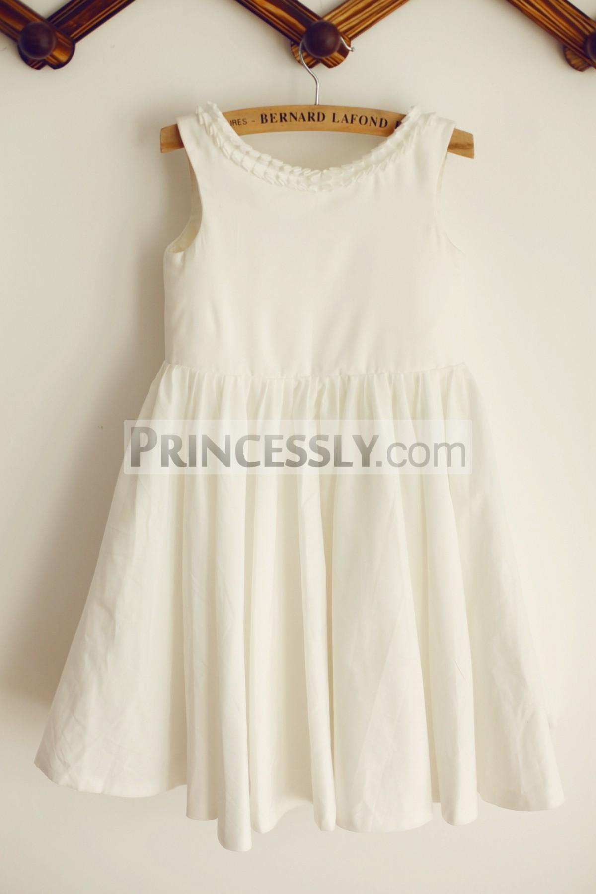 Ruffled neckline ivory cotton flower girl dress