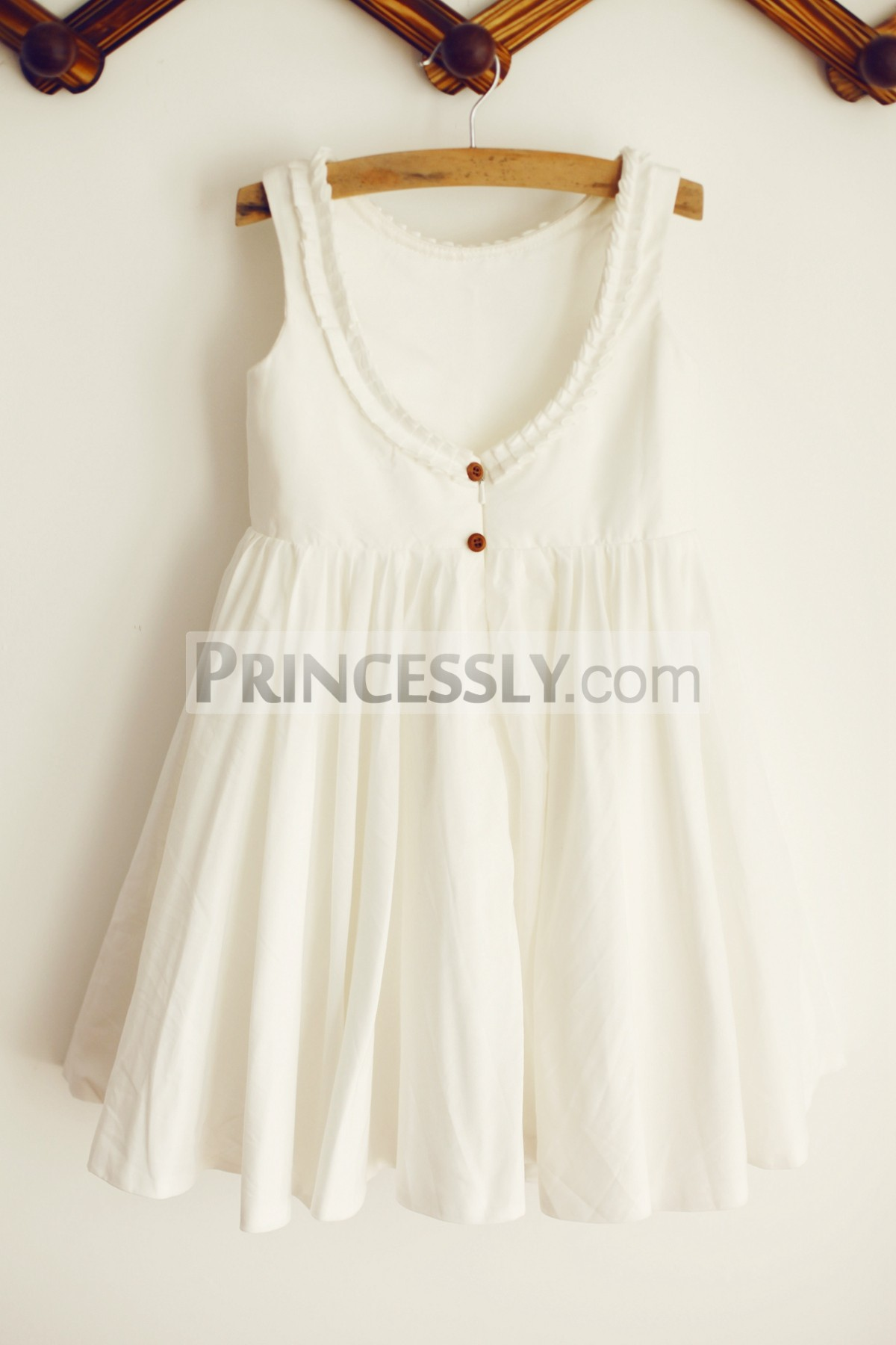 U back with wooden buttons wedding baby girl dress