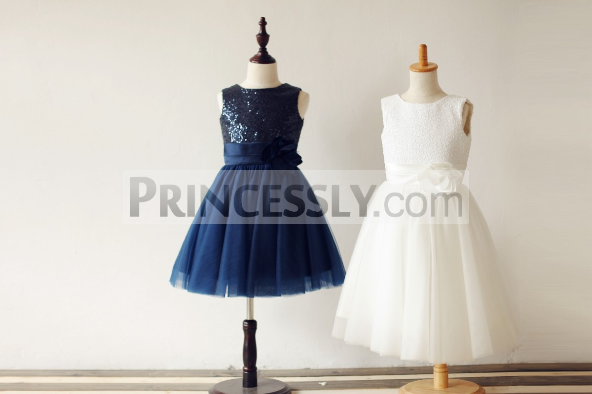 Simple dress in sequined bodice and tulle skirt