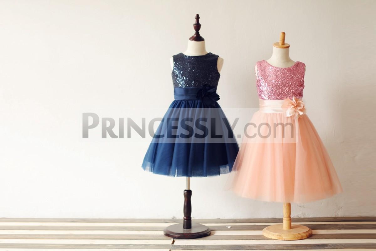 Navy blue / pink sequin tulle flower girl dress