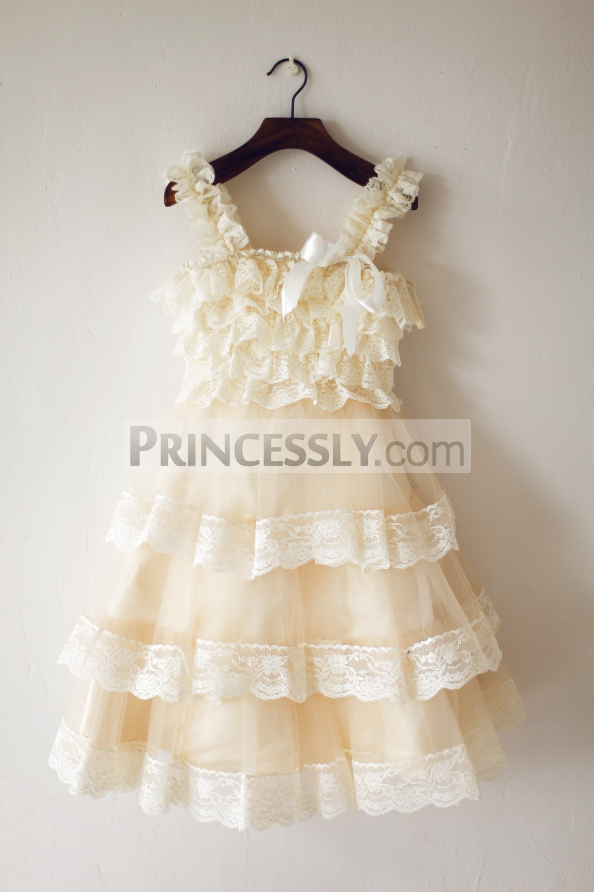 Ruffles lace champagne tulle cupcake flower girl dress