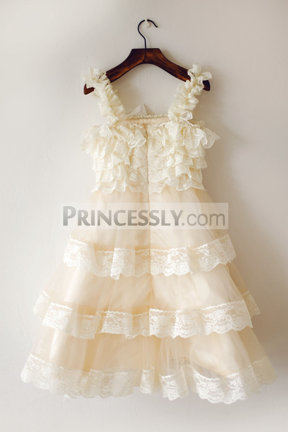 Lace straps champagne tulle wedding baby girl dress